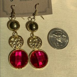 Jewelry - New PINK CZ crystal drop CIRCLE earrings